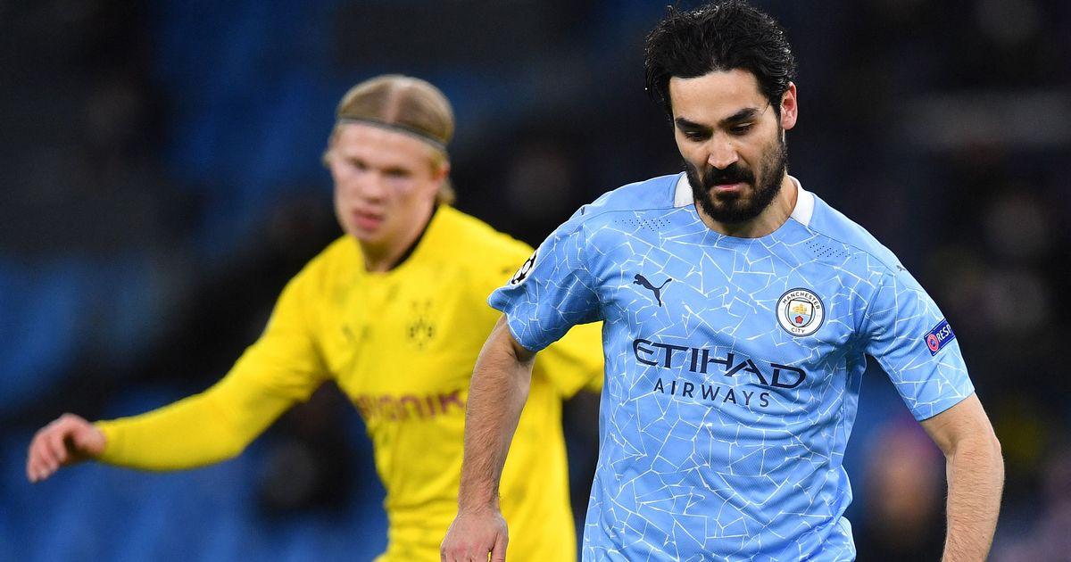 Ilkay Gundogan memberikan keputusan kepada Erling Haaland saat Man City bersiap untuk pertandingan Dortmund